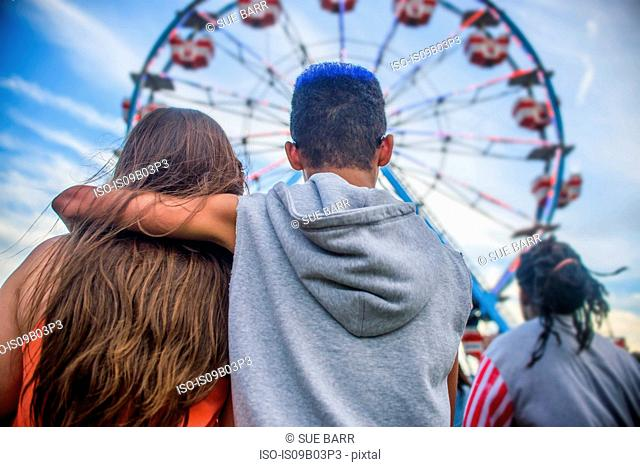 Rear view of teenage couple looking at ferris wheel in amusement park