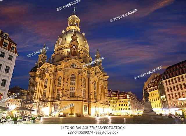 Dresden Frauenkirche sunset Lutheran church in Saxony of Germany