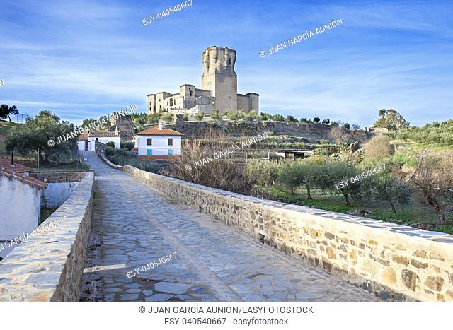Bridge to Belalcazar Castle, with the highest keep tower of Iberian Peninsula, Cordoba, Spain