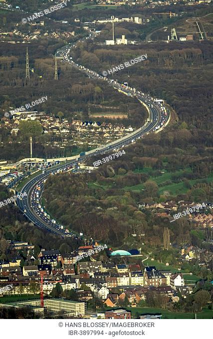 Aerial view, congestion on the A2 motorway, Gelsenkirchen-West, Gelsenkirchen, Ruhr district, North Rhine-Westphalia, Germany