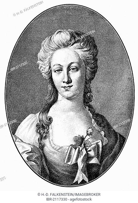 Portrait of Anna Elizabeth Schoenemann, 1758-1817, financée Lili of Johann Wolfgang von Goethe, 1749-1832, from Bildatlas zur Geschichte der Deutschen...