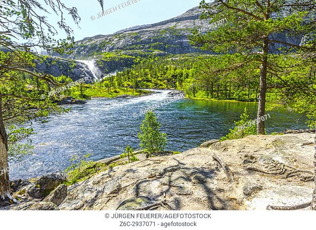 Nykkjesoyfossen falls in the Husedalen valley, near Kinsarvik at the Hardangerfjord, Norway, Scandinavia
