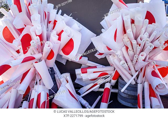 Flags at Imperial Palace. January 2. One of the two days a year that it is possible Visit the inner grounds of the Imperial Palace to view the new Year greeting...