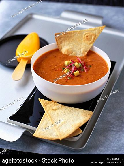 Spicy bean soup with guacamole, tortilla and ice lolly