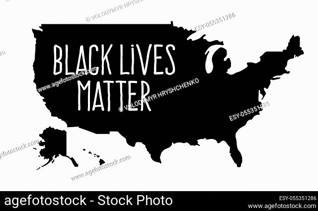 Black Lives Matter or i can't breathe Text On Usa Map. Stock vector illustration