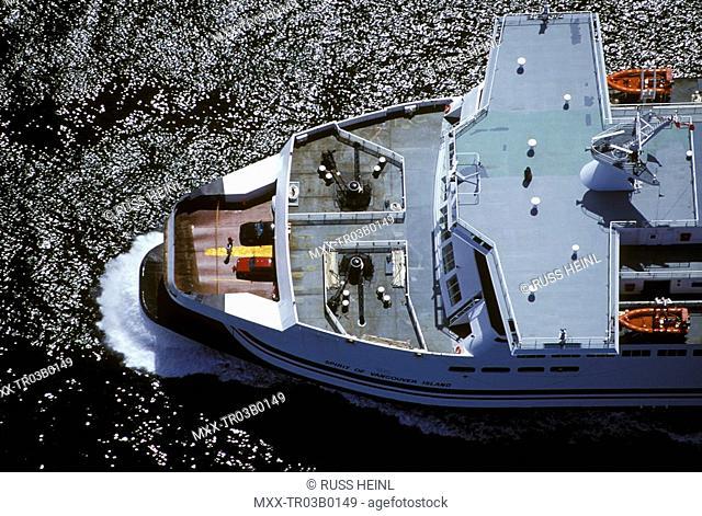 Aerial of BC Ferry, British Columbia, Canada
