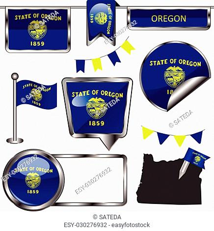 Vector glossy icons of flag of state Oregon on white