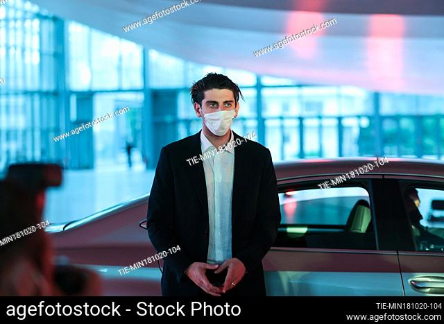 The director Pietro Castellitto with face mask during the red carpet of film 'I Predatori' at the 15th Rome Film Festival, Rome, ITALY-18-10-2020