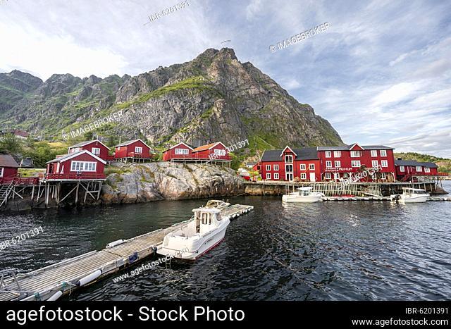Traditional red stilt houses, typical fishermen's huts, Å i Lofoten, Lofoten, Nordland, Norway, Europe