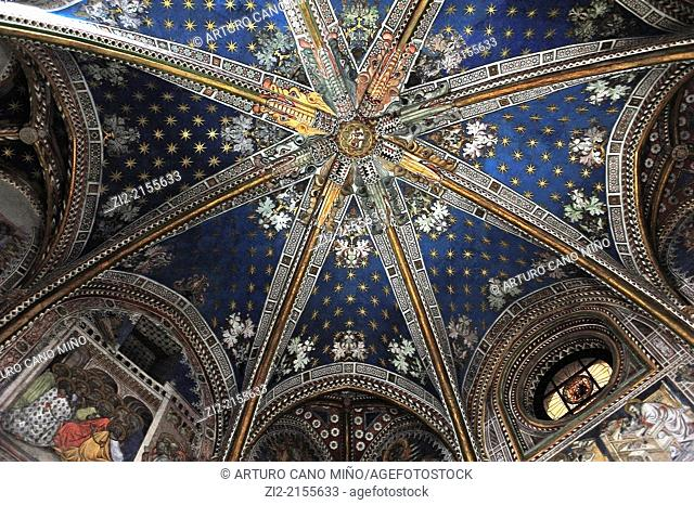 The Primate Cathedral of Saint Mary, Gothic, XIII-XV centuries, vault on chapel of San Blas, Toledo, Spain