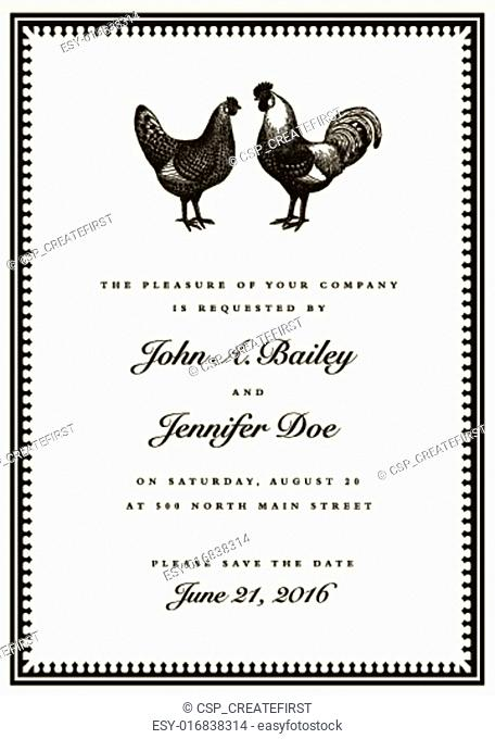Vector Rooster and Hen Wedding Invite Template