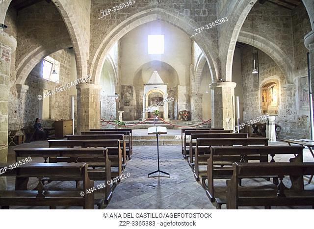 Sovana, one of the most beautiful villages of Italy Sorano Tuscany Italy on July 7, 2019. Chiesa di Santa Maria, the church