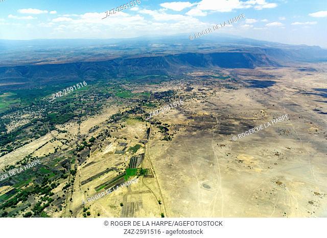 Aerial view of the Rift Valley Escarpment near Lake Manyara. Tanzania