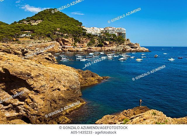 Aiguafreda beach and Cap SaSal, Begur, Baix Empordá, Costa Brava, Girona Province, Catalonia, Spain