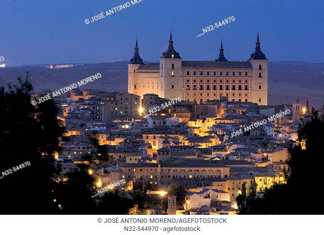 Night view of Toledo and its Alcázar. Toledo. Castilla La Mancha. Spain