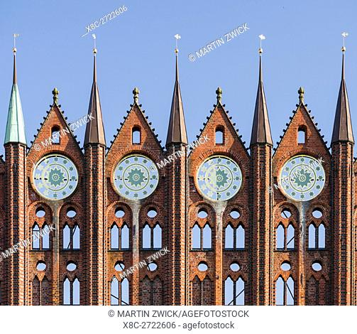 The Alte Markt (old market) with the iconic town hall. The Hanseatic City Stralsund. The old town is listed as UNESCO World Heritage