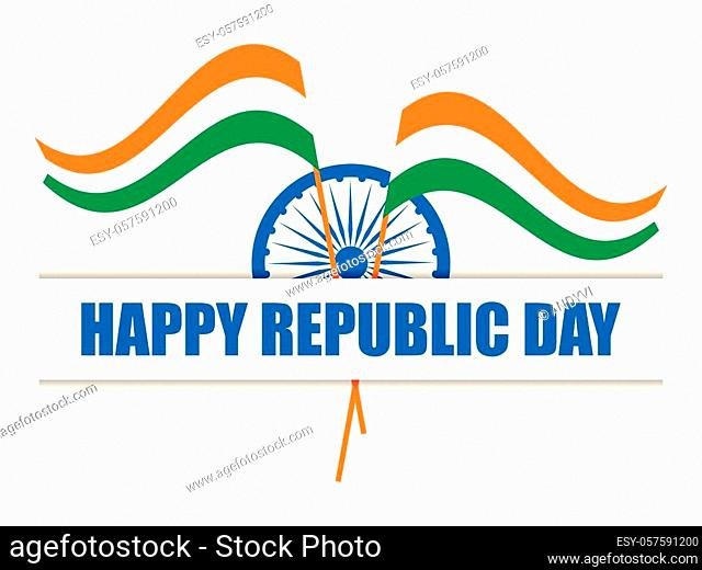 Happy Republic Day of India. National flag of India. Vector illustration