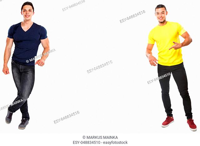 Young latin men showing pointing copyspace marketing ad advert empty blank sign isolated on a white background