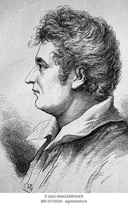 Esaias Tegner, 1782-1846, Swedish poet and Lutheran bishop, woodcut, historical engraving, 1882