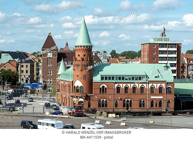 Historic train station at the ferry terminal, long-distance trains Berlin-Malmö by ferry to Sassnitz, Trelleborg, Scania, Sweden