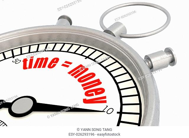 Stopwatch with time equal to money word image with hi-res rendered artwork that could be used for any graphic design
