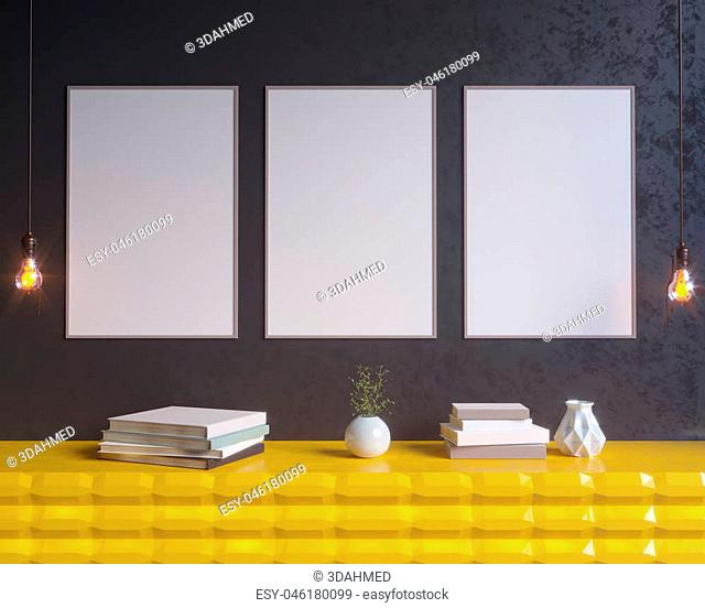 Concept interior, mock up poster on wall, 3d illustration template, up, wall, white, wooden, yellow