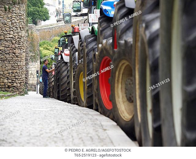 Dairy sector, group Lugo farmers evicted and terminating the concentration of tractors That surrounded the Roman Wall. Several groups are Reorganized