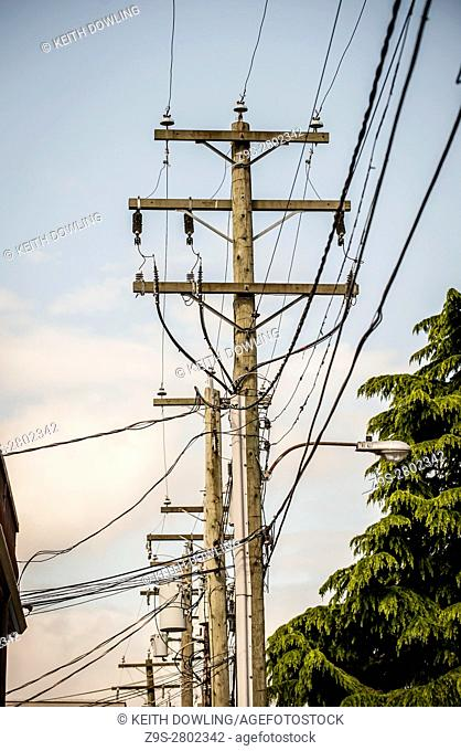 Utility Power Lines in alley, Vancouver City, BC, Canada