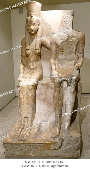 Statue of the Goddess Mut and the God Amun. XIX Dynasty, Reign of Ramesses II. Circa 1290-1224 BC; Mut was the mother goddess of Thebes
