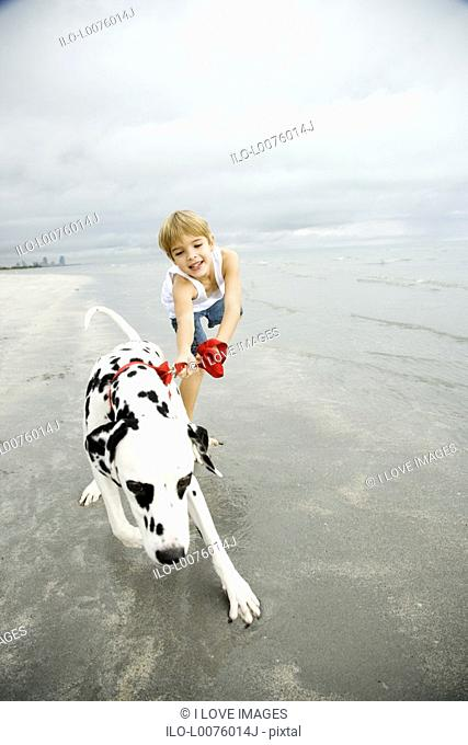 A young boy with a dog on a beach