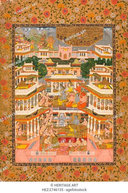 Tiered Court Scene, c. 1735. Creator: Chitarman II (Indian, c. 1680-?. 1750)
