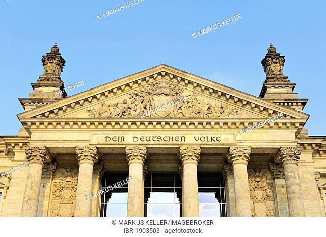 Detailed view, Reichstag building, seat of the German parliament, Bundestag, Regierungsviertel district, Berlin, Germany, Europe