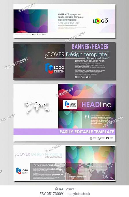 Social media and email headers set, modern banners. Business templates. Easy editable abstract design template, flat layout in popular sizes
