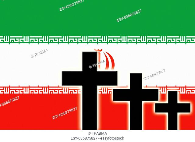 The Iranian flag and the silhouettes of tombstones crosses