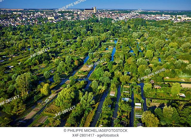 France, Cher (18), Bourges, the marsh of Bourges, St Etienne cathedral, UNESCO world heritage, aerial view