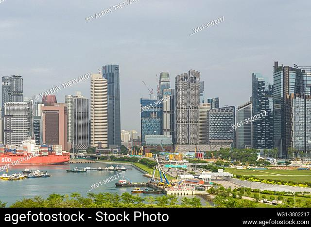 Singapore - December 3, 2019: Singapore skyscrapers at daytime. View from the cruise terminal. Singapore is an island city-state in Southeast Asia