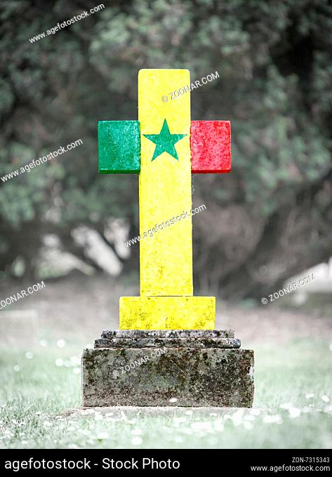 Old weathered gravestone in the cemetery - Senegal