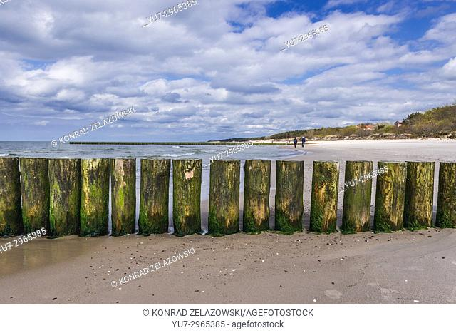 Wooden breakwater in Niechorze village in West Pomeranian Voivodeship of Poland