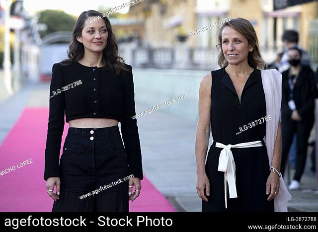 """Marion Cotillard and Flore Vasseur attends to """"""""Bigger Than Us"""""""" premiere during the 69th San Sebastian International Film Festival at Victoria Eugenia..."""