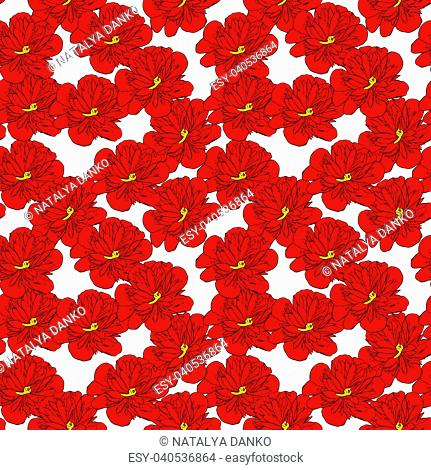 bud of red blooming peony isolated on white background, seamless pattern