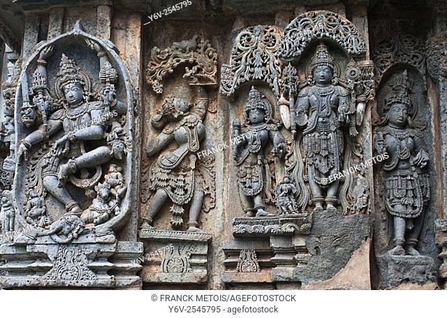 Sculpture at the Hoysaleswara temple at Halebid ( Karnataka, India)
