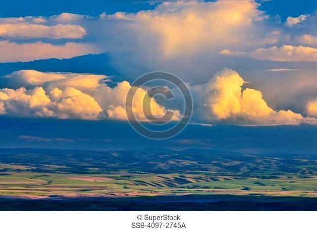 Clouds over a farm, Palouse, Washington State, USA