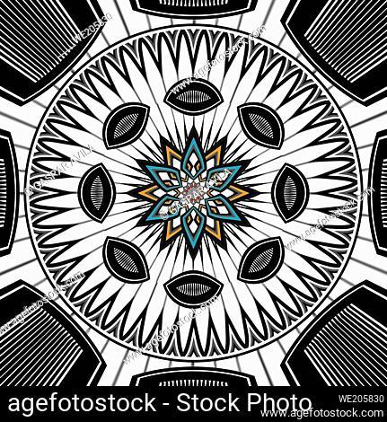 Mandala digital art, mostly in black and white