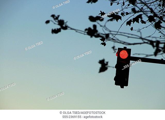 traffic light on red. Barcelona, Catalonia, Spain