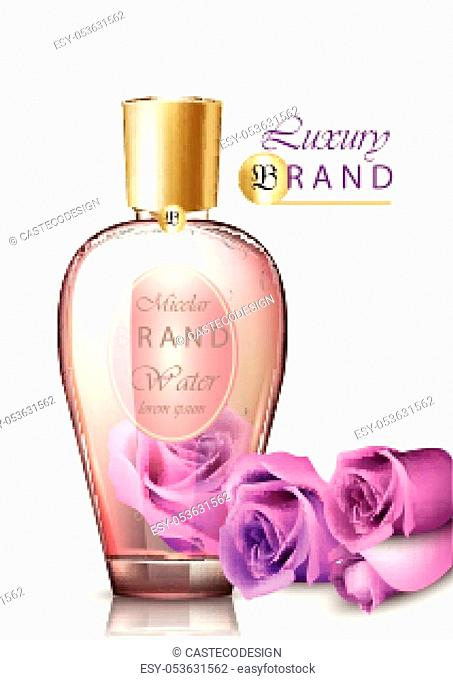 Rose water cosmetics Vector realistic. Product packaging 3d illustration
