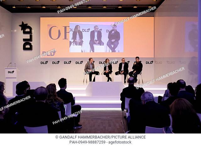 MUNICH/GERMANY - JANUARY, 21: (L-R) Florian Leibert (Mesophere), Sara Haider (Twitter), Guido Appenzeller (VMWare), Larry Gadea (Envoy) take part in a panel...