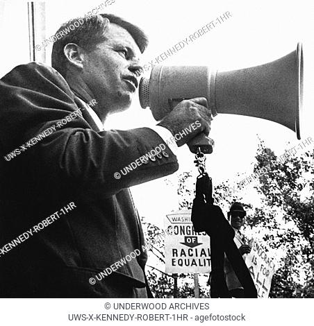 Washington, D.C.: June 14, 1963.Attorney General Robert Kennedy addresses civil rights demonstrators in front of the Justice Deaprtment today