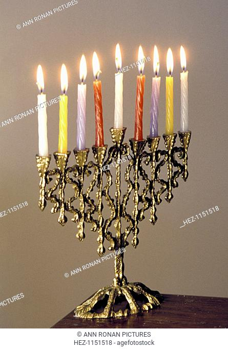 9-branched candelabra used in Judaism at Hannukah. Photograph