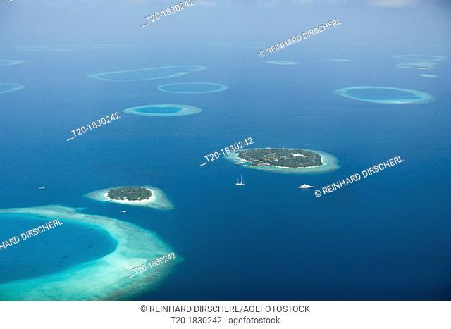 Aerial View of Bandos and Kuda Bandos Islands, North Male Atoll, Maldives