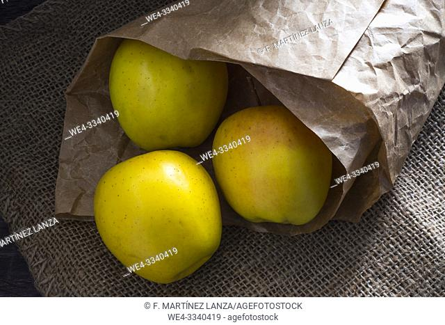 Yellow apples wrapped in paper